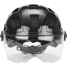 ABUS Hyban+ Fietshelm, black, clear visor